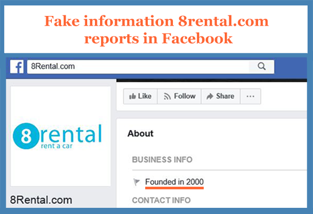 8rental.com fraudulently reports in Facebook to be in operation since 2000
