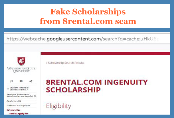 Fake scholarhips 8rental.com scammers posted at Washington State Univerisity