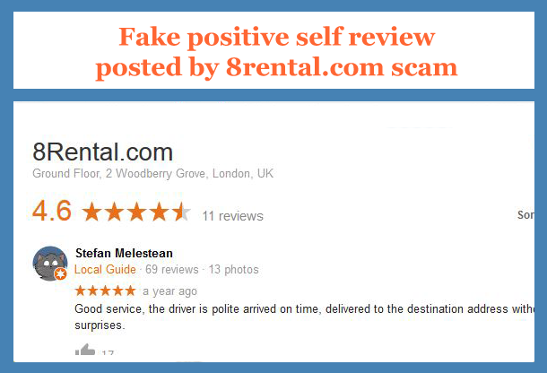 Fake self review posted in Google by 8rental.com scam
