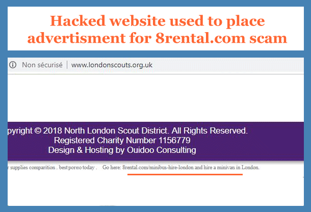 Hacked website www.braemarscotland.co.uk used to place an advertisement for 8rental.com scam